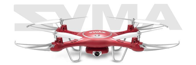 Syma X5UW /czerwony/ (kamera WiFi FPV 1MP, 2.4GHz, funkcja zawisu, zasięg do 70m, planowanie trasy)